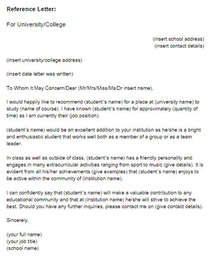 Academic Recommendation Letter Reference Letter For