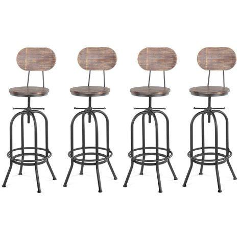 Lot De 4 Chaises De Bar De Style Industriel En Bois Reglable En Hauteur Lot De Tabourets De Bar Tabour En 2020 Tabouret De Bar Tabourets De Cuisine Du Bar Chaise Bar