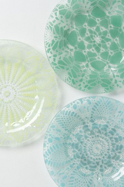Frosted Doily Dessert Plates #anthropologie . This is an easy DIY! $store plates, doily's and glass paint!