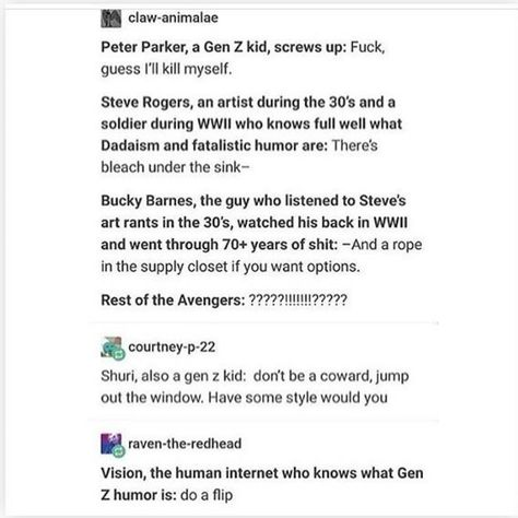 This is a perfect rundown of which Avengers would/wouldn't get Gen Z humor: