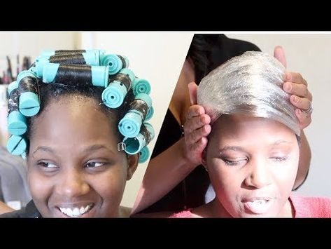 Rollerset Silk Wrap On Relaxed Hair Video Relaxed Hair Hair Wraps Hair Videos