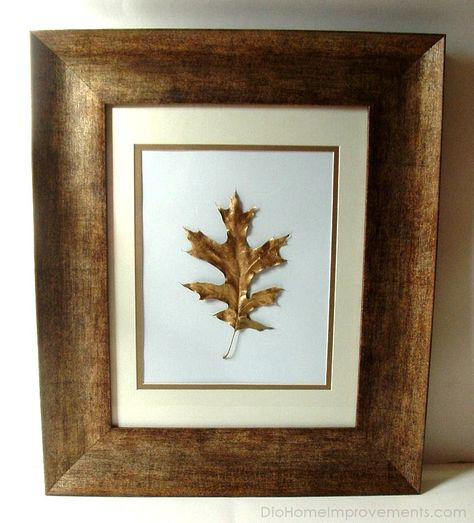 Gold leaf painted leaves. What a beautiful, simple, elegant project!