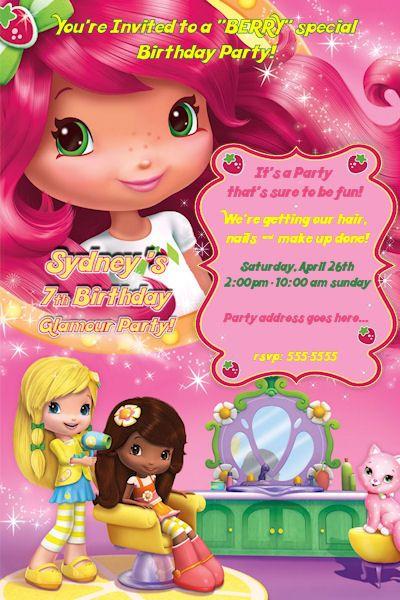 Personalized Invitation Strawberry Shortcake Birthday Invitations