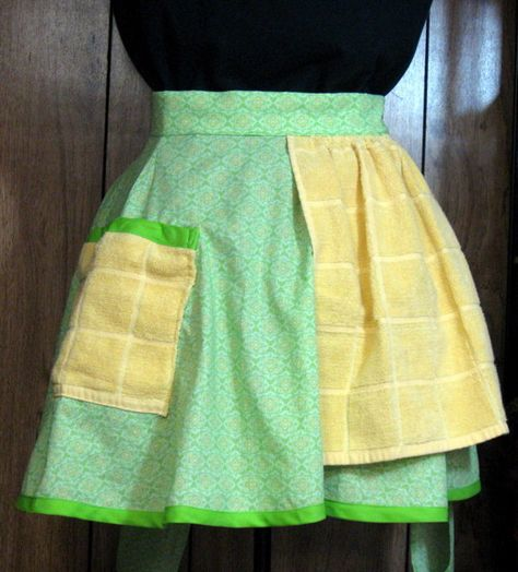 Apron with Attached Towel, Green Circle Skirt Best Picture For decorative towel sewing For Your Tast