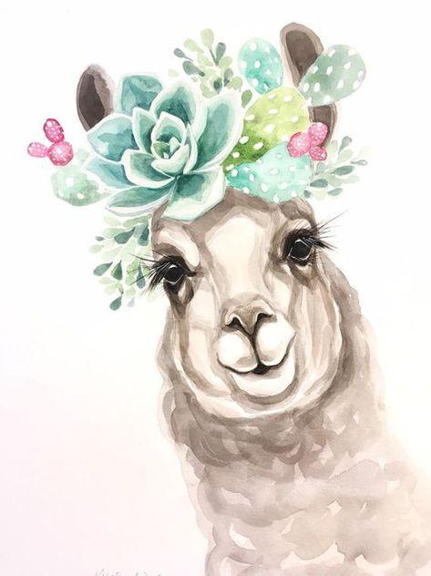 Drama Llama Watercolor PRINT