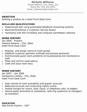Hotel Front Desk Job Description Resume New Front Desk Hotel Resume Romes Danapardaz In 2020 Job Resume Samples Sample Resume Resume Examples