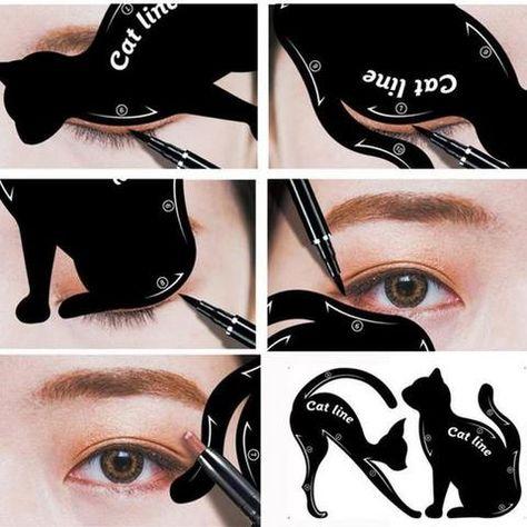 Cat Eyeliner Stencil 2pcs Maquillaje Ojos De Gato Maquillaje De