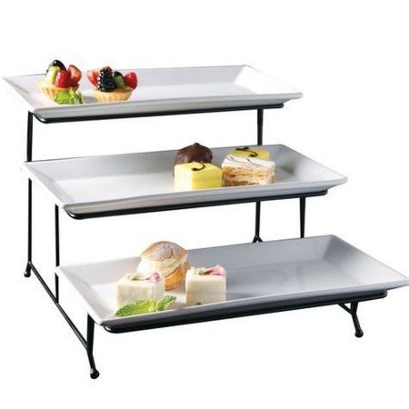 Gibson Server Set 3 Tier 92606 04 Kit Walmart Com 3 Tier Serving Tray Dessert Stand Appetizers For Party