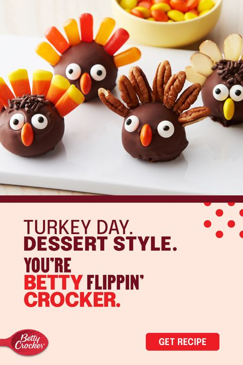 Little helpers may not be allowed to help carve up the big guy, but these Turkey Cookie Truffles are the perfect way to get the family involved while you and Betty run the show. Put them in charge of using Betty Crocker cookie mix and creating tail feathers and cute faces, so you can relax and enjoy an easy dessert after you've put Thanksgiving dinner on the table.