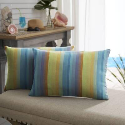 Arguello Box Cushion Futon Slipcover Pillows Striped Outdoor Pillow Lumbar Pillow