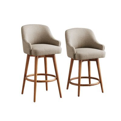 Bennie Taupe Swivel Counter Bar Stools With Java Wood Counter