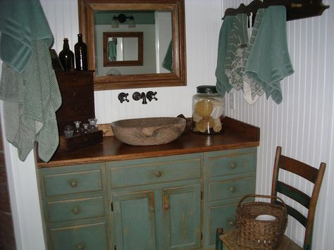 Antiques in the master bathroom
