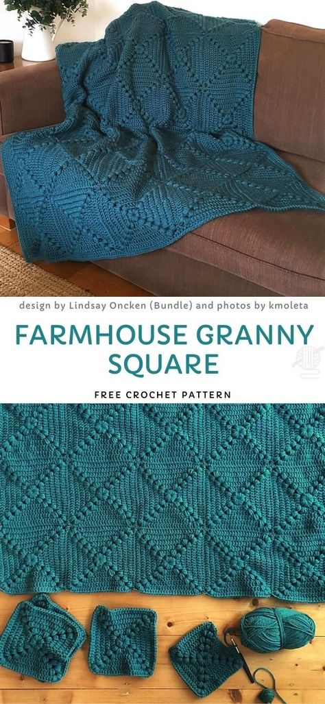 Farmhouse Granny Square Free Crochet Pattern - Lovely and Easy Granny Blankets - Crochet Afghans, Crochet Stitches, Knit Crochet, Crochet Blankets, Crotchet, Diy Blankets, Crochet Bedspread, Crocheting Patterns, Granny Square Häkelanleitung
