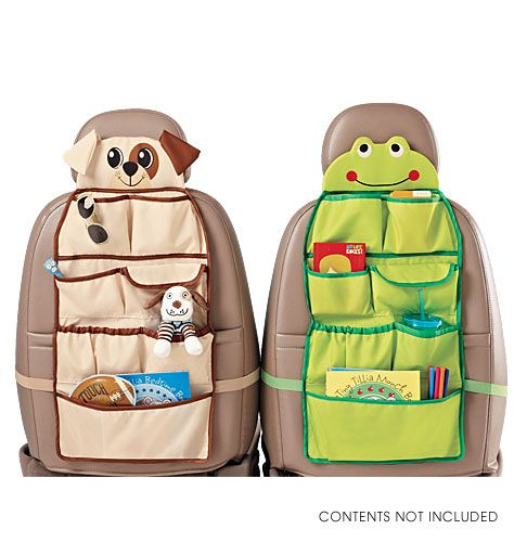 """AVON - Car trip organizer. Pockets for books, pens and markers, CDs, and much more, this organizer will help keep any young traveler busy on long car trips. Just attach to the back of your car seat and hit the road. 28 1/2"""" L x 14"""" W. Polyester. Imported.     Contents not included.  $17.99"""