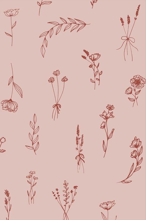 Flower illustration and tattoo design inspiration   line drawing for logo and branding   pink and red   flower background wallpapers