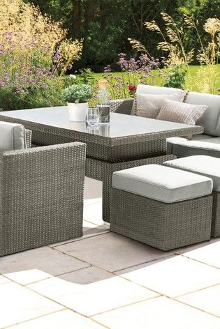 Monaco Living And Dining Table Garden Set Grey Outdoor Furniture