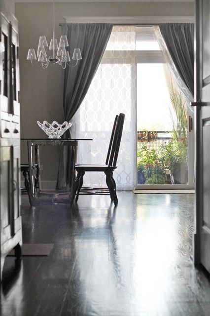 Sliding glass door treatment - curtains- sheer curtain underneath and solid  curtain on top layer and bring color to the room. - 7 Best Sliding Glass Door Ideas Images On Pinterest Sliding Glass