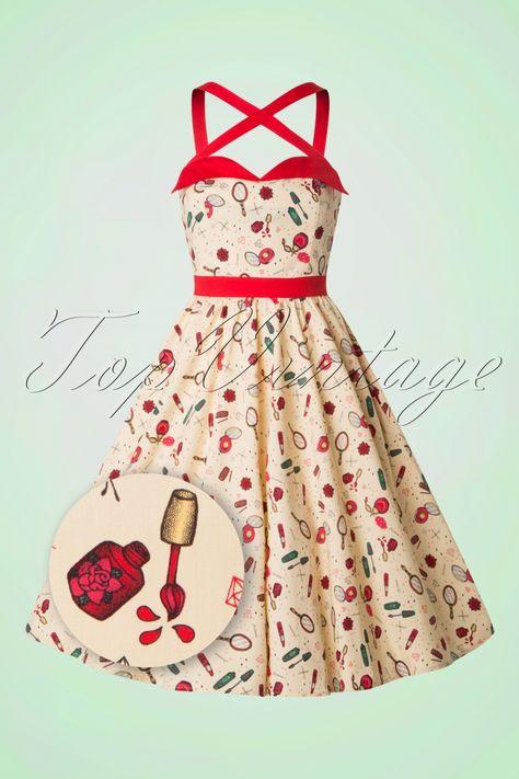 On a bad day, there's always lipstick... und dieses 50s Sybil Swing Dress!Mit diesem Hingucker kannst du zahlreiche Looks kreieren; die Träger von diesem hübschen Kleid können gekreuzt aber auch als Haltermodell getragen werden, wow! Der rote Taillenbund wird deine Taille perfekt betonen. Hergestellt aus einem leicht dehnbaren, pastellgelben Baumwolle-MIx in einem farbenfrohen, auffälligen Muster. ''This dress doesn't need much make-up ;-)''     Rote Tr&...