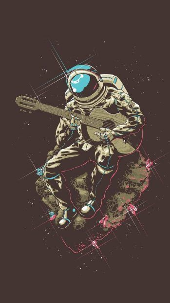 Astronaut With Guitar In Space Iphone Background Just To