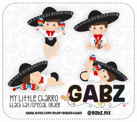 Little Charro Black Hat Mexican Folklore Clipart Aztec Decorative Baby Shower Mexican Maracas Fiesta Gabz Mexican Baby Shower Baby Shower Clipart Decoracion Baby Shower