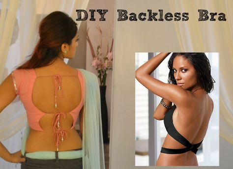 ae85bf1139 DIY Backless Bra Extension Low Back strapless dress Hack Trick Sari Blou.