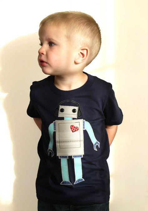 New Cute Boys Robot Long Sleeve Top Size 18M
