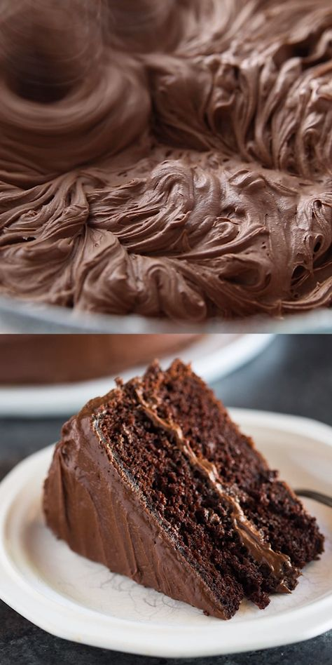 """Hershey's """"perfectly chocolate"""" Chocolate Cake with 5 ingredient chocolate frosting is our favorite homemade chocolate cake recipe! Extra moist, with a perfect rich chocolate flavor and tender, smooth crumb."""