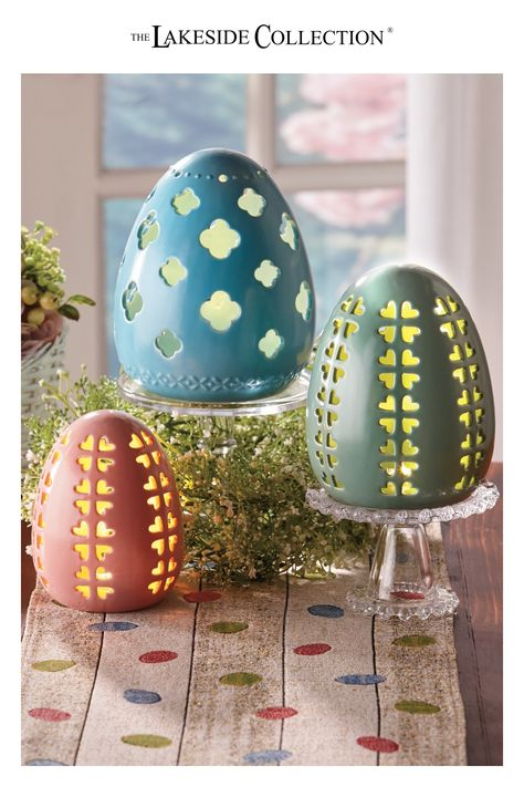 Add a traditional touch to your spring decor with this Lighted Ceramic Egg. It features a punched-out flower petal design that allows the light inside to shine through. Makes a charming shelf or tabletop accent for Easter or the entire spring season. Available in 3 sizes, each in a different pastel color.