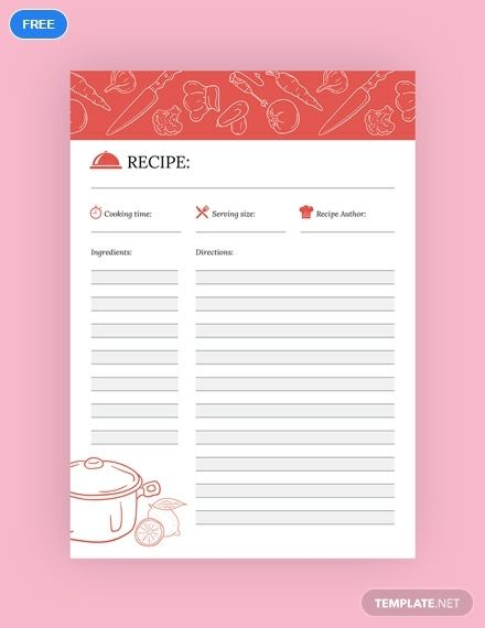 Free Recipe Journal Template Word Doc Psd Indesign Illustrator Publisher Recipe Template For Word Journal Template Recipe Template