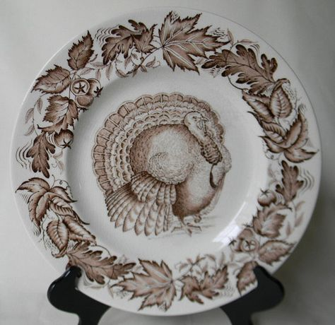 Thanksgiving Turkey Brown Transferware Plate by Clarice Cliff