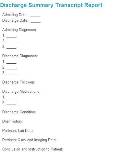 Sample Discharge Summary Template. Cardiology Discharge Summary ...