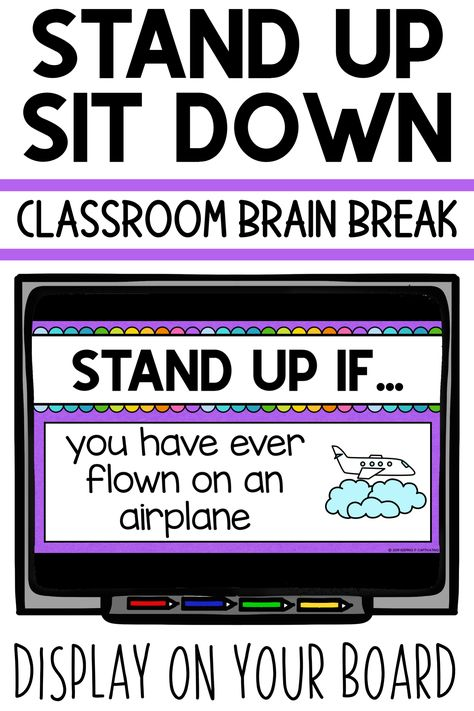 Stand Up Sit Down Classroom Brain Break Brain Break Game for Students Classroom Behavior, Kindergarten Classroom, School Classroom, Classroom Activities, Classroom Management, Music Classroom, Google Classroom, Classroom Ideas, Classroom Routines