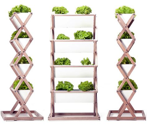 Jörg Brachmann's collapsible vertical planter is perfect for small spaces. Grow vegetables, then fold it up for easy storage off-season! #urbangardens