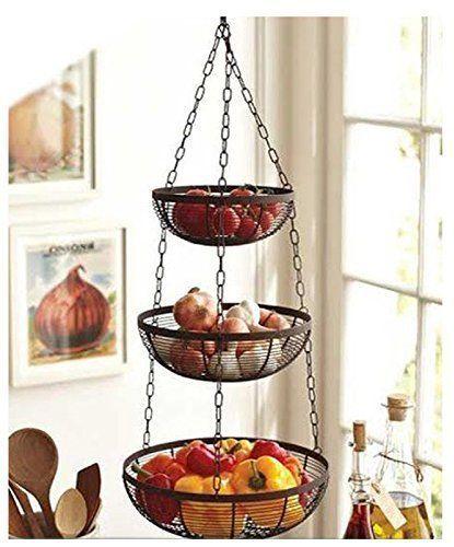 Details About 3 Tier Wire Hanging Basket Fruit Vegetable Organizer Storage Kitchen Counter 25 With Images Hanging Fruit Baskets Tiered Fruit Basket Fruit Baskets Diy