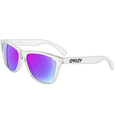 Oakley Frogskins Sunglasses, Polished Clear/Violet Iridium, One Size