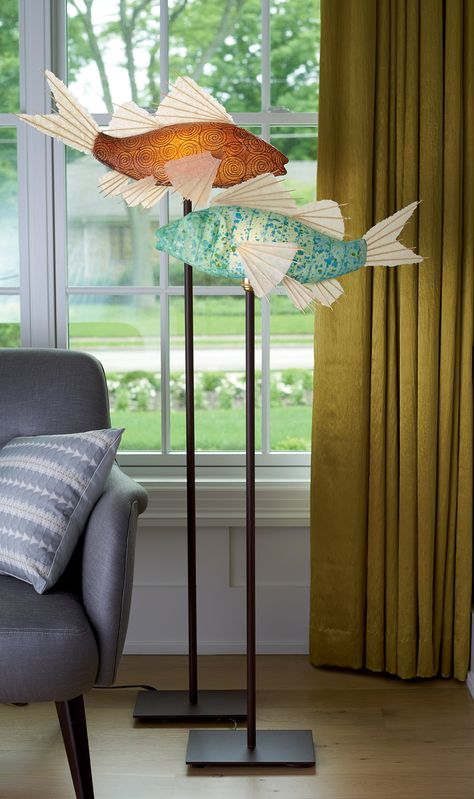 Cinnamon Swirl Koi Lamp By Lara Fisher Mixed Media Lamp Light