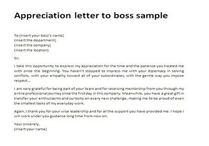 Appreciation Letter To Boss Sample Thank You Letter To Boss