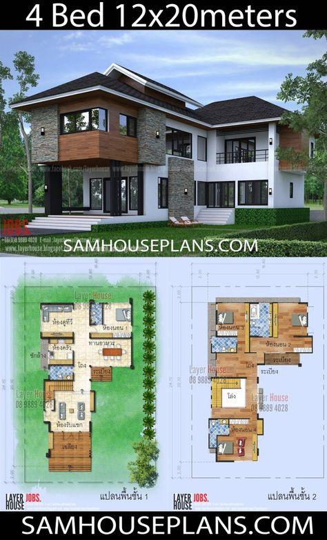 House Plans Idea 12x20 M With 4 Bedrooms Disenos De Casas Planos De Casas Y Planos De Casa De Dos Pisos