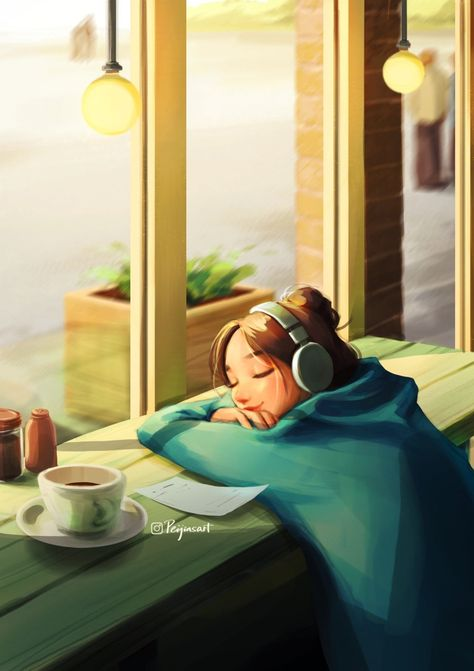 Cozy Afternoon - Art Print - Girl Listening Music - Chilling in Cafe - Warm Sunshine - Coffee Time - Soothing Vibe - Peijin