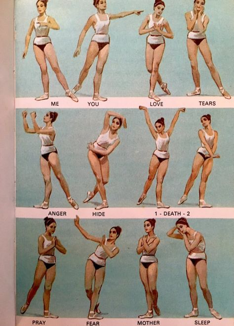 """I stumbled upon this ballet mime guide the other day. When I first started watching ballet, I really struggled to understand anything the dancers were """"saying"""". Ballet Art, Ballet Class, Ballet Dancers, Bolshoi Ballet, Ballet Terms, Dance Terms, Dancer Workout, Ballerina Workout, Dance Stretches"""