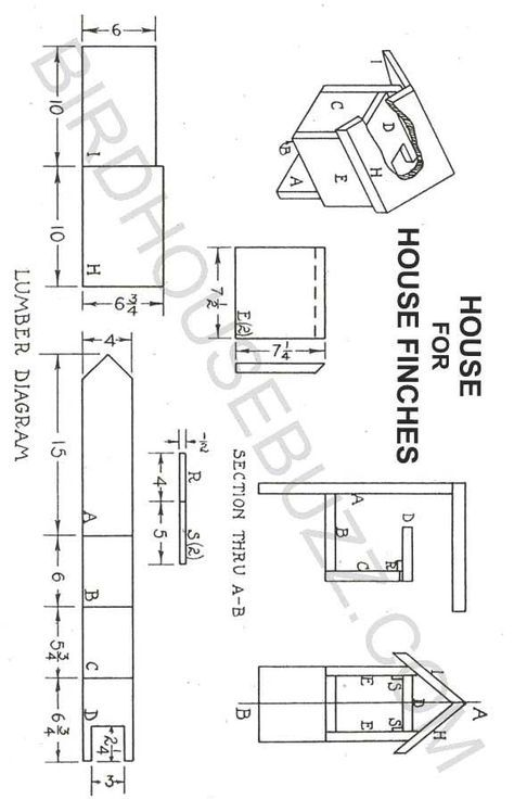 Finch House Research For New Work Bird House Plans Bird House Plans Free Finch Bird House