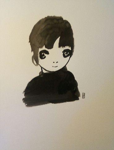 Natacha Sillegue Sur Etsy Portrait Enfant Aquarelle Encre De