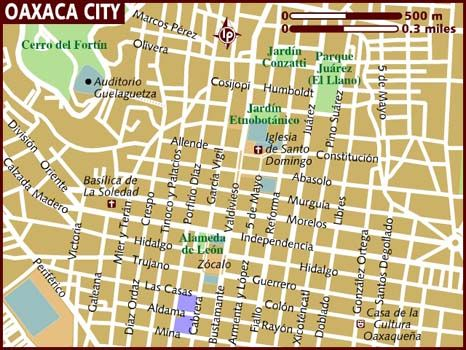 Map Of Oaxaca City Oaxaca City City Travel