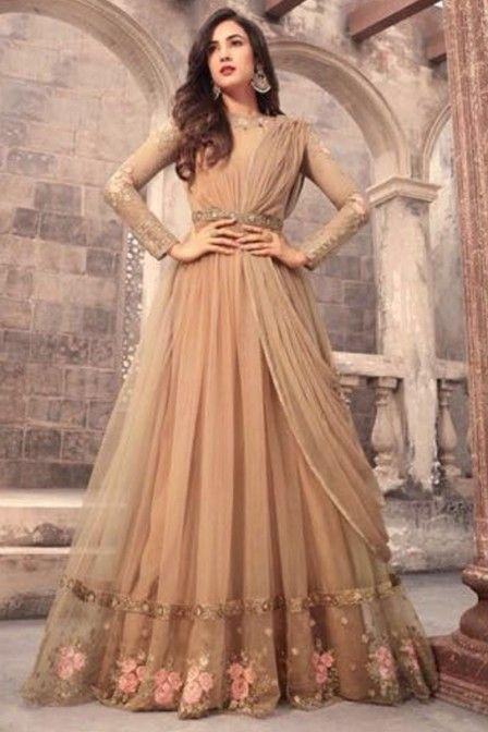 a1fb268237f Beautiful Beige Color Net Fabric Indian Wedding Season Bollywood ...