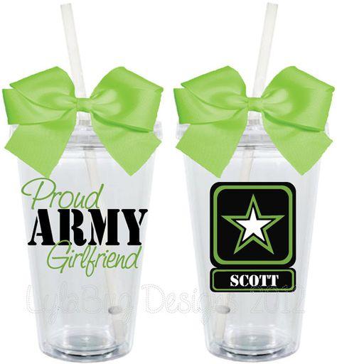 Proud Army Wife Girlfriend Mom 16oz Personalized by LylaBugDesigns, $15.00