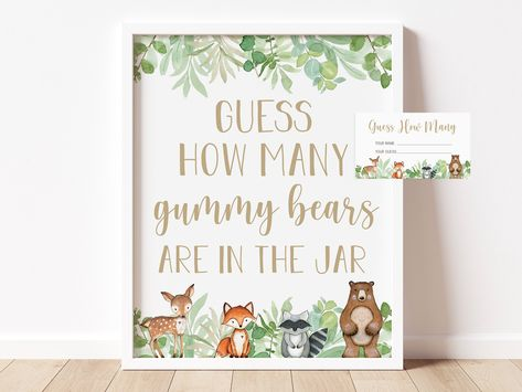 guess how many gummy bears are in the jar sign and card // woodland animals, watercolor greenery, baby boy, baby shower game, shower signs