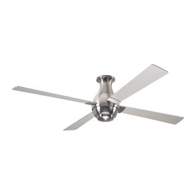 Modern Fan Company 56 Gusto Flush 4 Blade Ceiling Fan With Remote Motor Finish Bright Nickel Blade Finish White Accessories Fan Speed Control Modern Fan Ceiling Fan Ceiling Fan With Remote