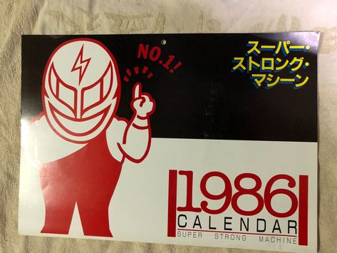 Njpw Super Strong Machine Calendar 1986 Cover Of The 1986