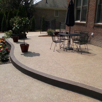 Raised Exposed Aggregate Concrete Patio With Accent. Complete Renovation  Around A Swimming Pool | Yelp | Concrete | Pinterest | Concrete Patios, ...