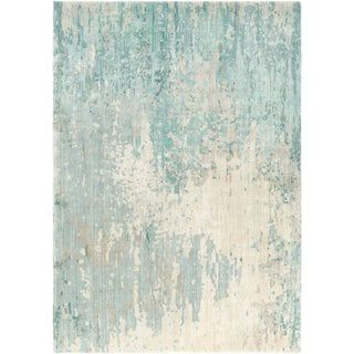 Hand Knotted Ted Abstract Wool Area Rug 8 X 11 Teal Blue